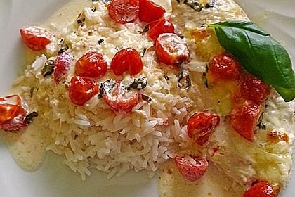 Mozzarella - Hähnchen in Basilikum - Sahnesauce 170