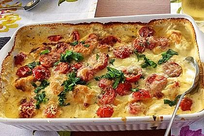 Mozzarella - Hähnchen in Basilikum - Sahnesauce 29