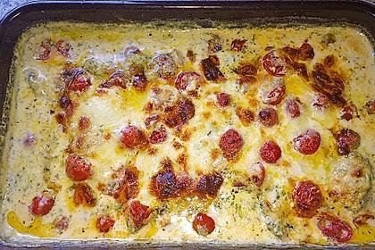 Mozzarella - Hähnchen in Basilikum - Sahnesauce 276