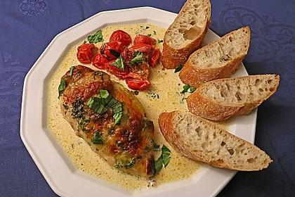 Mozzarella - Hähnchen in Basilikum - Sahnesauce 3