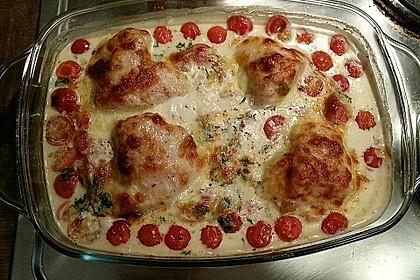 Mozzarella - Hähnchen in Basilikum - Sahnesauce 83