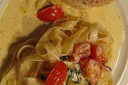 Mozzarella - Hähnchen in Basilikum - Sahnesauce 155