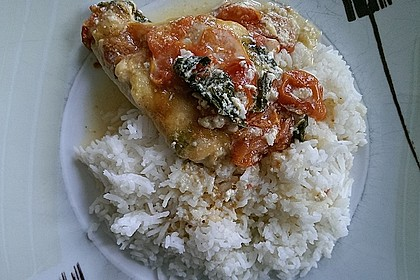 Mozzarella - Hähnchen in Basilikum - Sahnesauce 328