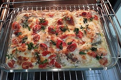 Mozzarella - Hähnchen in Basilikum - Sahnesauce 166