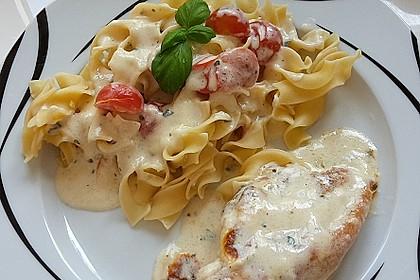 Mozzarella - Hähnchen in Basilikum - Sahnesauce 6