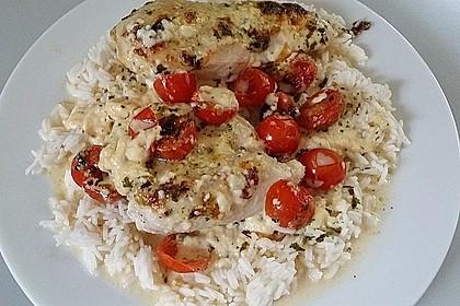 Mozzarella - Hähnchen in Basilikum - Sahnesauce 326
