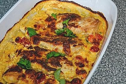 Mozzarella - Hähnchen in Basilikum - Sahnesauce 272