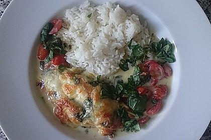 Mozzarella - Hähnchen in Basilikum - Sahnesauce 136