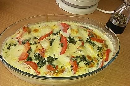 Mozzarella - Hähnchen in Basilikum - Sahnesauce 160