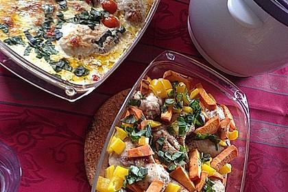 Mozzarella - Hähnchen in Basilikum - Sahnesauce 135