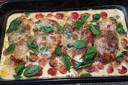 Mozzarella - Hähnchen in Basilikum - Sahnesauce 171