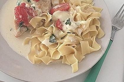 Mozzarella - Hähnchen in Basilikum - Sahnesauce 82