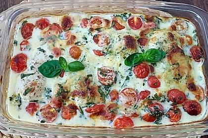 Mozzarella - Hähnchen in Basilikum - Sahnesauce 167