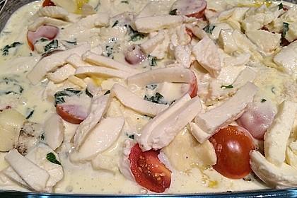 Mozzarella - Hähnchen in Basilikum - Sahnesauce 245