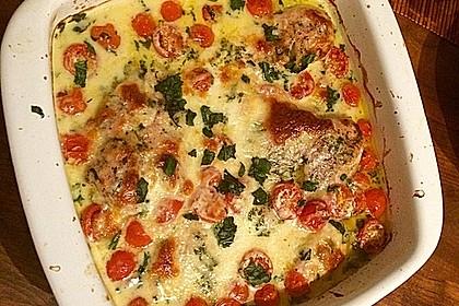 Mozzarella - Hähnchen in Basilikum - Sahnesauce 50