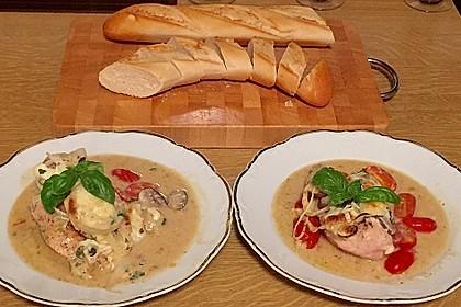 Mozzarella - Hähnchen in Basilikum - Sahnesauce 189