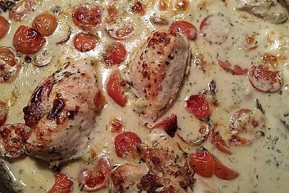 Mozzarella - Hähnchen in Basilikum - Sahnesauce 179