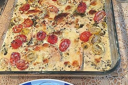 Mozzarella - Hähnchen in Basilikum - Sahnesauce 193