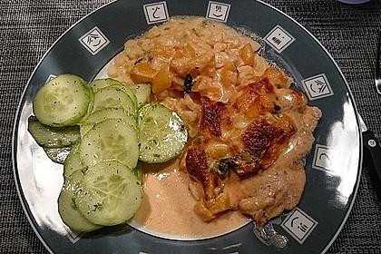 Mozzarella - Hähnchen in Basilikum - Sahnesauce 243