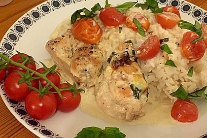 Mozzarella - Hähnchen in Basilikum - Sahnesauce 115