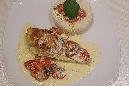 Mozzarella - Hähnchen in Basilikum - Sahnesauce 54