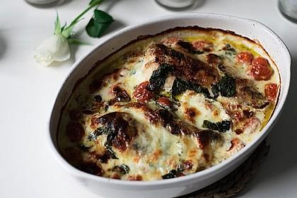 Mozzarella - Hähnchen in Basilikum - Sahnesauce 233