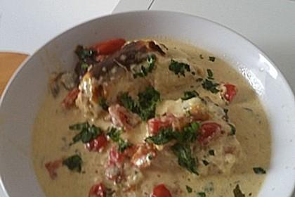 Mozzarella - Hähnchen in Basilikum - Sahnesauce 329