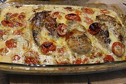 Mozzarella - Hähnchen in Basilikum - Sahnesauce 244