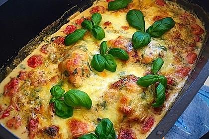 Mozzarella - Hähnchen in Basilikum - Sahnesauce 158