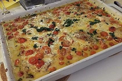 Mozzarella - Hähnchen in Basilikum - Sahnesauce 192