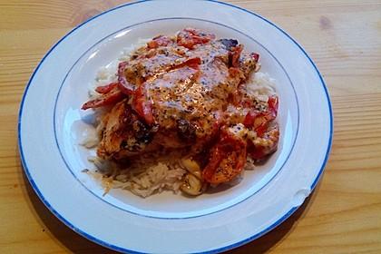 Mozzarella - Hähnchen in Basilikum - Sahnesauce 145