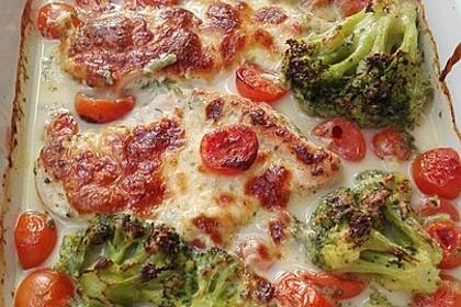 Mozzarella - Hähnchen in Basilikum - Sahnesauce 212