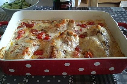 Mozzarella - Hähnchen in Basilikum - Sahnesauce 116