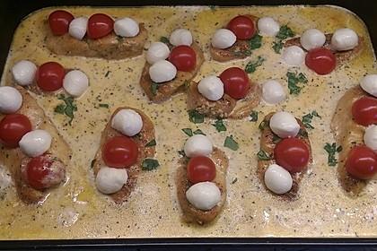 Mozzarella - Hähnchen in Basilikum - Sahnesauce 188