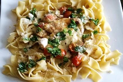 Mozzarella - Hähnchen in Basilikum - Sahnesauce 195