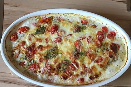 Mozzarella - Hähnchen in Basilikum - Sahnesauce 53