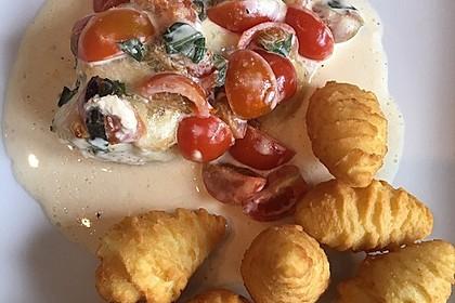 Mozzarella - Hähnchen in Basilikum - Sahnesauce 33