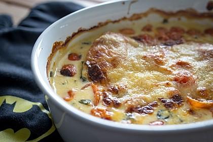 Mozzarella - Hähnchen in Basilikum - Sahnesauce 180