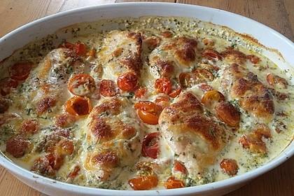 Mozzarella - Hähnchen in Basilikum - Sahnesauce 24
