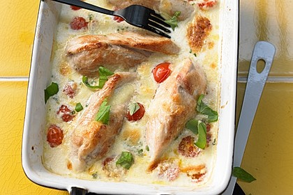 Mozzarella - Hähnchen in Basilikum - Sahnesauce 11