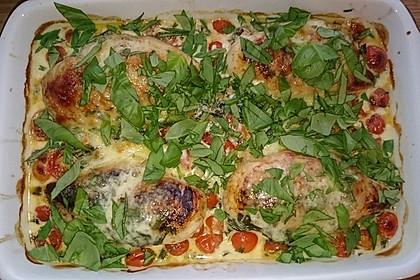 Mozzarella - Hähnchen in Basilikum - Sahnesauce 159