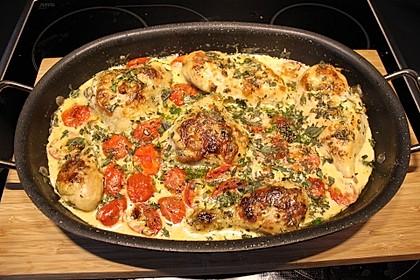 Mozzarella - Hähnchen in Basilikum - Sahnesauce 8