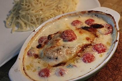 Mozzarella - Hähnchen in Basilikum - Sahnesauce 72