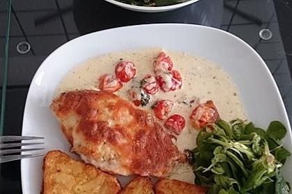 Mozzarella - Hähnchen in Basilikum - Sahnesauce 187