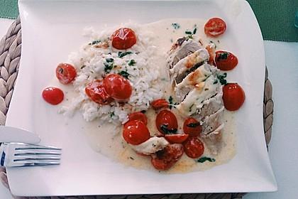 Mozzarella - Hähnchen in Basilikum - Sahnesauce 94