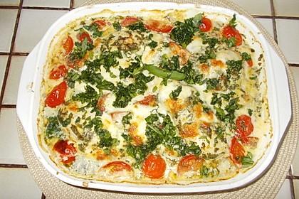 Mozzarella - Hähnchen in Basilikum - Sahnesauce 100