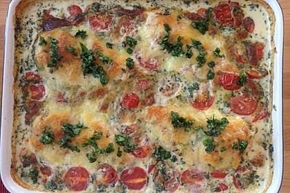 Mozzarella - Hähnchen in Basilikum - Sahnesauce 84