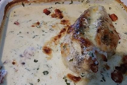 Mozzarella - Hähnchen in Basilikum - Sahnesauce 236