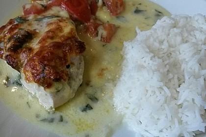 Mozzarella - Hähnchen in Basilikum - Sahnesauce 141