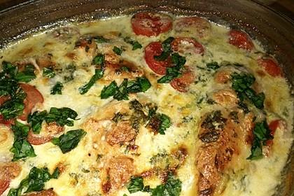 Mozzarella - Hähnchen in Basilikum - Sahnesauce 128